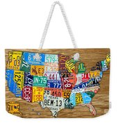 Usa License Plate Map Car Number Tag Art On Light Brown Stained Board Weekender Tote Bag by Design Turnpike