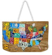 Usa License Plate Map Car Number Tag Art On Light Brown Stained Board Weekender Tote Bag