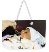 Using A Spoon To Feed A 4 Day Old Indian Baby Boy With Milk Weekender Tote Bag