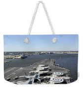 Uss Enterprise Arrives At Naval Station Weekender Tote Bag
