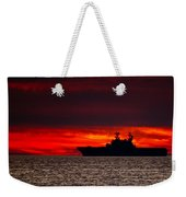 Uss Makin Island At Sunset Weekender Tote Bag