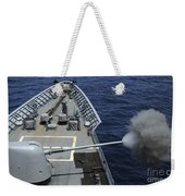 Uss Philippine Sea Fires Its Mk 45 Weekender Tote Bag by Stocktrek Images