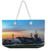 Uss Yorktown Sunset Weekender Tote Bag