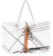 Utility Pole Hung With Electricity Power Cables Weekender Tote Bag