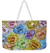 Valentine Candy Hearts Weekender Tote Bag