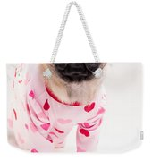 Valentine's Day - Adorable Pug Puppy In Pajamas Weekender Tote Bag