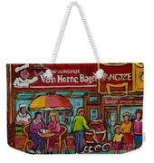 Van Horne Bagel With Yangtze Restaurant Montreal Street Scene Weekender Tote Bag by Carole Spandau