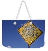Vandalized Road Sign Many Bullet Holes Weekender Tote Bag