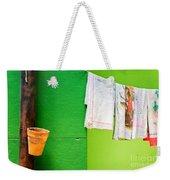 Vase Towels And Green Wall Weekender Tote Bag