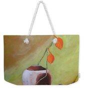 Vase With Orange Leaves And Fruit Weekender Tote Bag