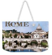 Vatican City Seen From Tiber River Text  Rome Weekender Tote Bag