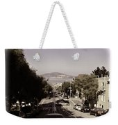 Vehicles On A Busy Road Also Used By The Tram Service Weekender Tote Bag