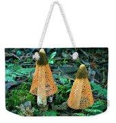 Veiled Lady Mushrooms Weekender Tote Bag by Glen Threlfo