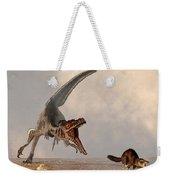 Velociraptor Chasing Small Mammal Weekender Tote Bag