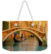 Venice Boat Bridge Oil On Canvas Weekender Tote Bag