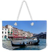 Venice Italy Gondola With Tourists Floats On Grand Canal Weekender Tote Bag