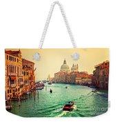 Venice Italy Grand Canal And Basilica Santa Maria Della Salute At Sunset Weekender Tote Bag
