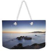 Venus And The Moon Over The Mediterranean Sea Weekender Tote Bag