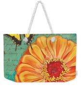 Verdigris Floral 1 Weekender Tote Bag by Debbie DeWitt