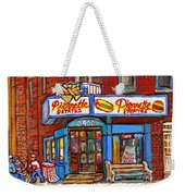 Verdun Famous Restaurant Pierrette Patates - Street Hockey Game At 3900 Rue Verdun - Carole Spandau Weekender Tote Bag