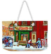 Verdun Hockey Game Corner Landmark Restaurant Depanneur Pierrette Patate Winter Montreal City Scen Weekender Tote Bag by Carole Spandau