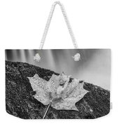 Vermont Autumn Maple Leaf Black And White Weekender Tote Bag