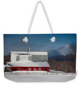Vermont Barn In Snow With Mountain Behind Weekender Tote Bag