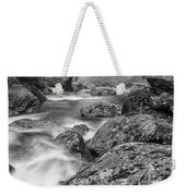Vermont River Fog Mount Mansfield Black And White Weekender Tote Bag