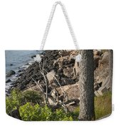 Vertical Photograph Of The Rocky Shore In Acadia National Park Weekender Tote Bag