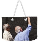 Veterans Look For A Fallen Soldier's Name On The Vietnam War Memorial Wall Weekender Tote Bag