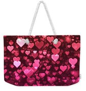 Vibrant Pink And Red Bokeh Hearts Weekender Tote Bag