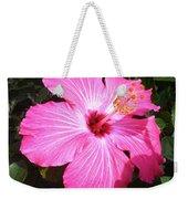 Vibrant Pink Hibiscus Weekender Tote Bag