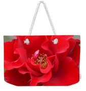 Vibrantly Red Rose Weekender Tote Bag
