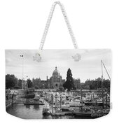 Victoria Harbour With Parliament Buildings - Black And White Weekender Tote Bag