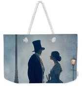 Victorian Couple At Nighttime Under Gas Lights  Weekender Tote Bag