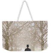Victorian Gentleman In Snow Weekender Tote Bag