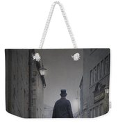 Victorian Man In Top Hat On A Cobbled Road At Night Weekender Tote Bag