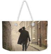 Victorian Man Running On A Cobbled Road Weekender Tote Bag