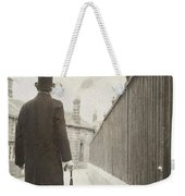 Victorian Man Walking Towards A Row Of Cottages Weekender Tote Bag