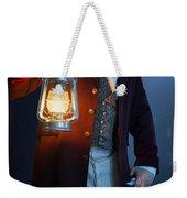 Victorian Man With Lantern At Night Weekender Tote Bag