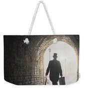 Victorian Man With Top Hat And Case Walking Under A Bridge Weekender Tote Bag