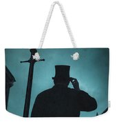 Victorian Man With Top Hat Under A Gas Lamp Weekender Tote Bag