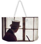 Victorian Man Writing With A Quill At His Desk Weekender Tote Bag
