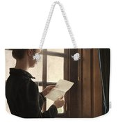 Victorian Or Edwardian Woman Reading A Letter By The Window Weekender Tote Bag