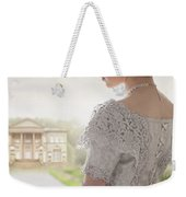 Victorian Woman Approaching A Country Manor House Weekender Tote Bag