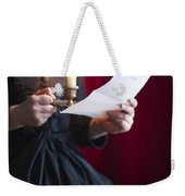 Victorian Woman Reading A Letter By Candle Light Weekender Tote Bag