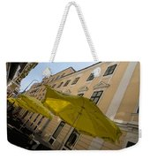 Vienna Street Life - Cheery Yellow Umbrellas At An Outdoor Cafe Weekender Tote Bag
