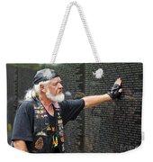 Vietnam Veteran Pays Respect To Fallen Soldiers At The Vietnam War Memorial  Weekender Tote Bag