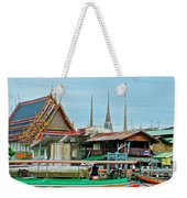 View Of A Temple From Waterway Of Bangkok-thailand Weekender Tote Bag