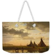 View Of Chimney Rock Ohalila .sioux Village In The Foreground Weekender Tote Bag